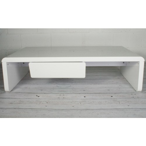 White High Gloss Coffee Table With 1 Drawer