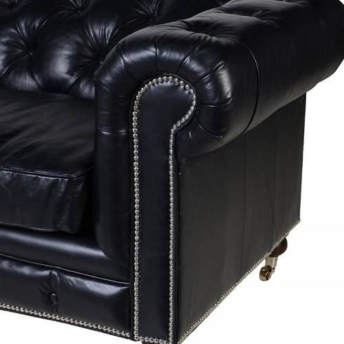 black leather chesterfield 3 seater sofa. Black Bedroom Furniture Sets. Home Design Ideas