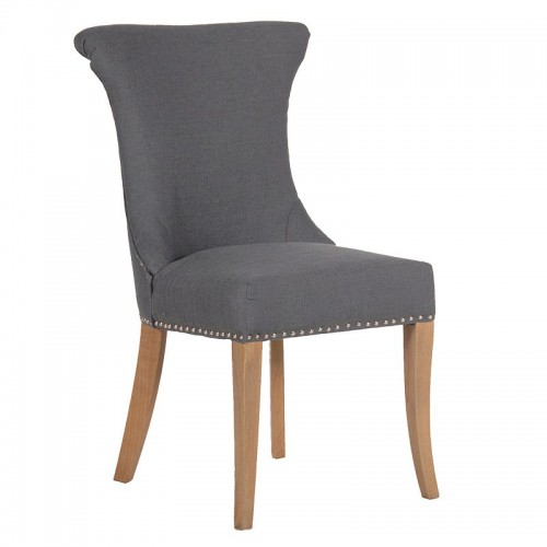 Dark grey studded dining chair with ring for Upholstered studded dining chairs