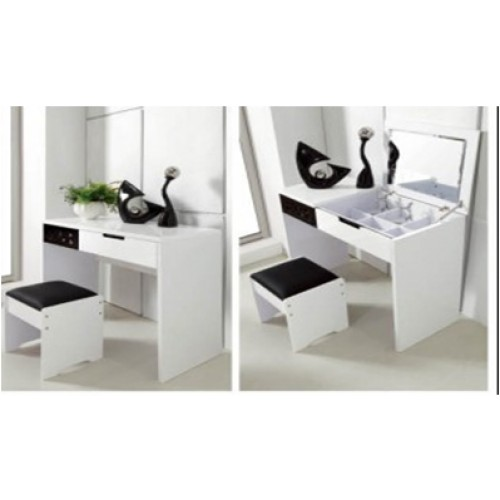 Trentino Black White High Gloss Dressing Table - Black gloss dressing table