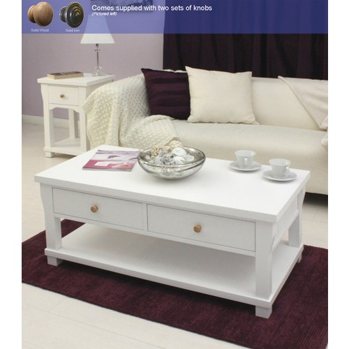 Hampton White Painted 4 Drawer Coffee Table