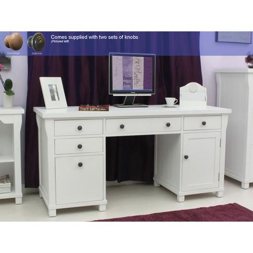 Hampton White Painted Double Pedestal Computer Desk