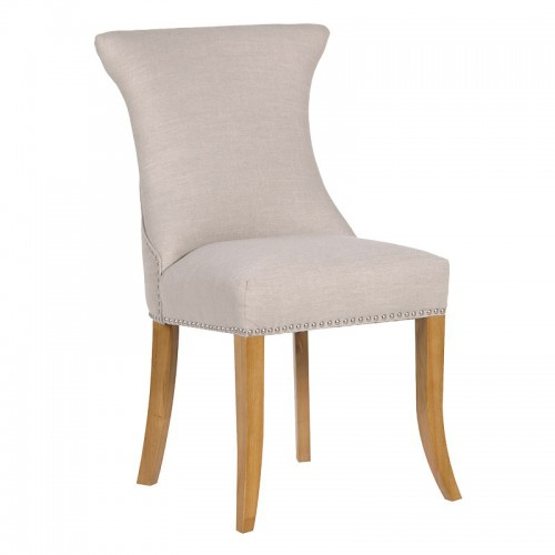 Ivory studded dining chair with ring for Upholstered studded dining chairs