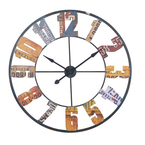 Large Multi Colour Numbers Wall Clock