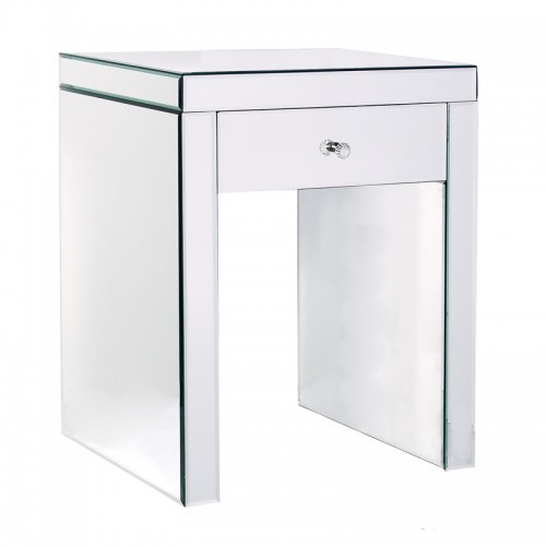 Mirror Bedside Table : Mirrored Bedside Table