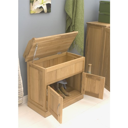 Mobel Solid Oak Furniture Shoe Storage Hallway Bench: Mobel Oak Shoe Bench Storage Cupboard