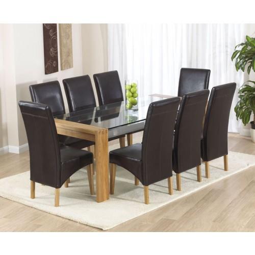 Roma Oak Glass Dining Table 200cm