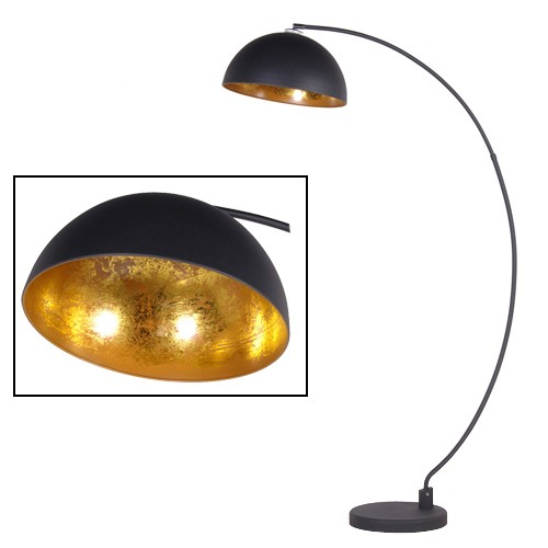 sand black gold shade arc floor lamp. Black Bedroom Furniture Sets. Home Design Ideas