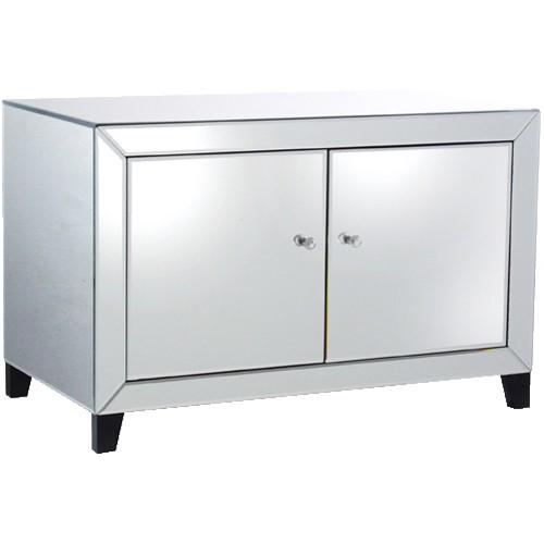 mirrored 2 door low cabinet. Black Bedroom Furniture Sets. Home Design Ideas