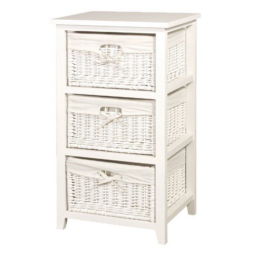 3 Basket White Storage Unit