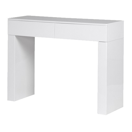 White High Gloss 2 Drawer Console Table