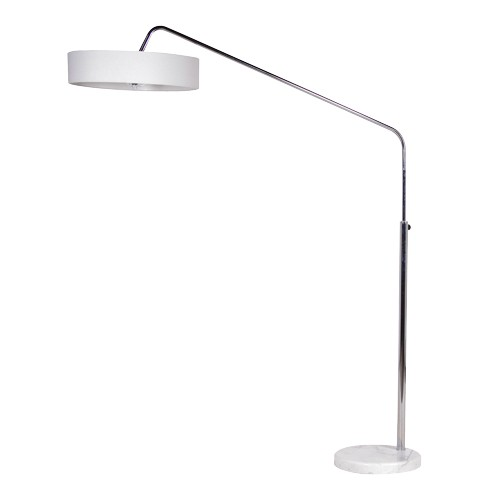 White Shade Overhanging Floor Lamp