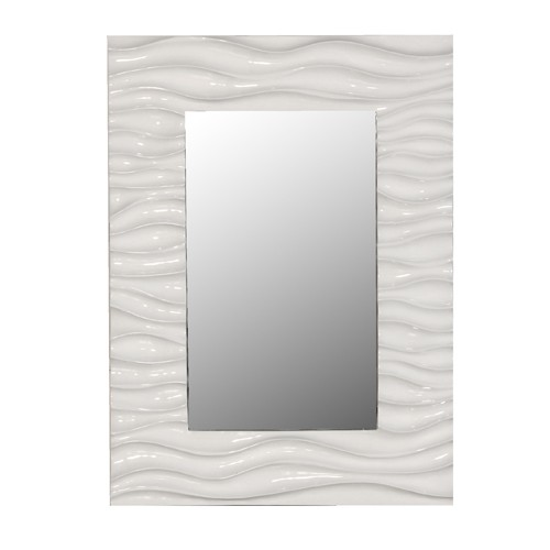 White High Gloss Wave Mirror