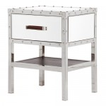 Chrome Stud 1 Drawer Mirrored Bedside Table