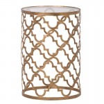 Gold Quatrefoil Side Table