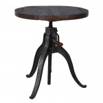Industrial Round Adjustable Wooden Top Table