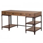 Industrial Pine Iron Pedestal Desk
