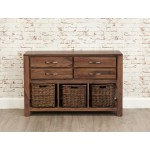 Mayan Walnut 4 Drawer Console Table