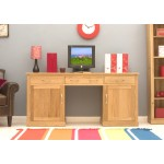 Mobel Oak Double Pedestal Computer Desk - Large