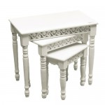 Shabby Chic Nest of 3 Tables - White