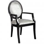 Silver Velvet Oval Back Armchair