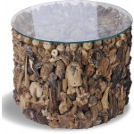 Round Driftwood Drum Side Table