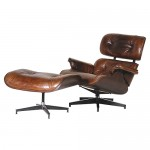 Vintage Leather Eames Chair and Footstool