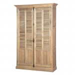 Weathered Oak Large Louvred 2 Door Cabinet