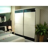 Trentino Black + White High Gloss Double Sliding Wardrobe