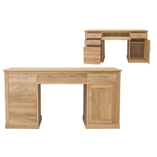 New Mobel Oak Double Pedestal Computer Desk XI77