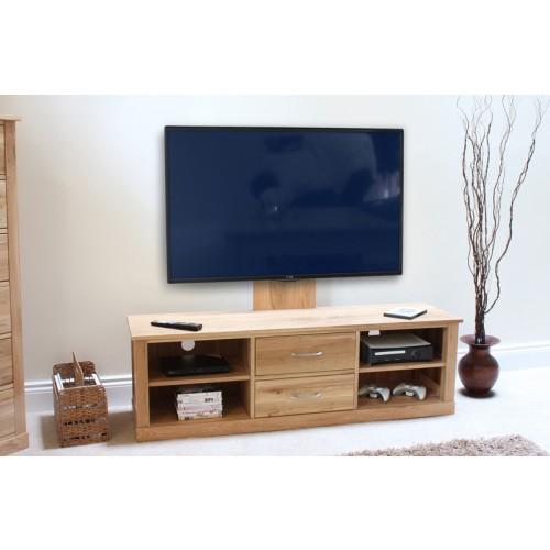 mobel oak flat screen tv stand with mount. Black Bedroom Furniture Sets. Home Design Ideas