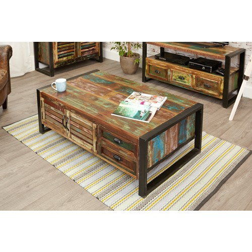 Indore Coffee Table With 6 Drawers: Urban Chic 4 Door 4 Drawer Coffee Table