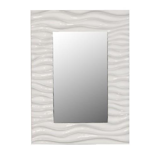 White High Gloss Wave Mirror