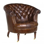 Vintage Leather Button Club Chair