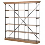 Large Industrial Oak 5 Shelf Bookcase