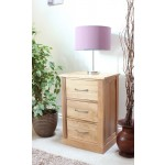 Mobel Oak 3 Drawer Bedside Table