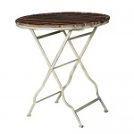 Slatted Distressed Round Garden Table