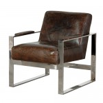 Vintage Leather Steel Frame Armchair
