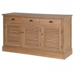 Weathered Oak 3 Door Louvered Sideboard