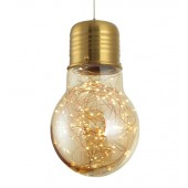 Amber Glass LED Bulb Pendant