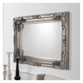 Carved Louis Rectangle Mirror Silver