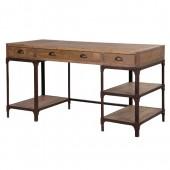 Industrial Pine Iron Pedestal Desk