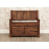 Mayan Walnut Monks Bench Shoe Storage