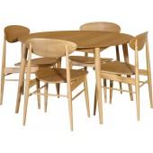 50's Retro Oak Round Dining Table Set