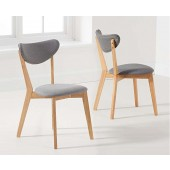 Seth Oak Grey Cushion Dining Chair - Pair