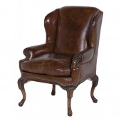 Traditional Vintage Leather Wing Chair
